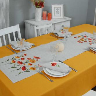 Набір столовий Геленіум: доріжка 140*40см та 2+2 серветки 40*40см (сірий льон)