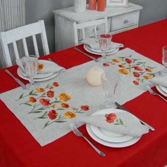 Набір столовий Геленіум: доріжка 90*40см та 2+2 серветки 40*40см (сірий льон)