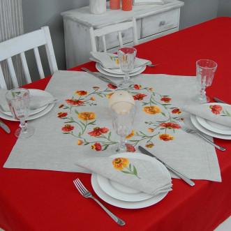 Набір столовий Геленіум: центральна серветка 65*65см та 2+2 серветки 40*40см (сірий льон)