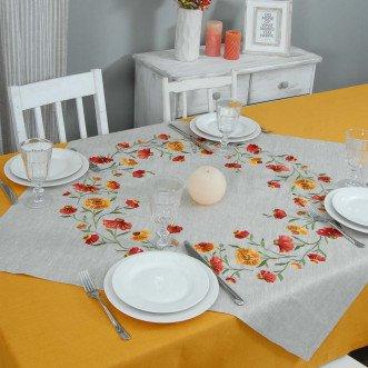 Серветка на стіл центральна Геленіум 90*90см (сірий льон)