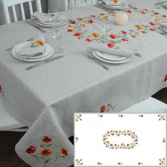 Льняная скатерть с вышивкой Гелениум на 8-12 персон 250см (серый лён)