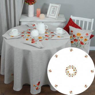 Скатерть и салфетки на круглый стол Гелениум на 8 персон d-210см (серый лён)