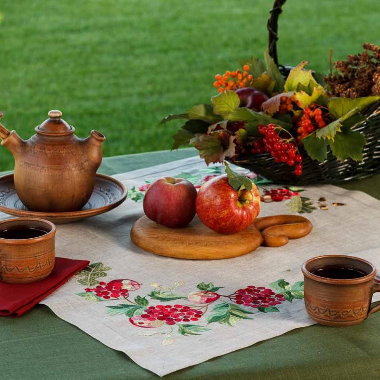 Набір столовий Калина з яблуками: центральна серветка 65*65см та 4 серветки 40*40см (сірий льон)