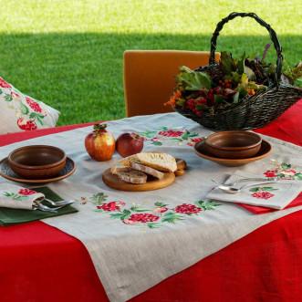 Серветка на стіл центральна Калина з яблуками 90*90см (сірий льон)