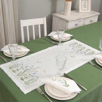Набір столовий КОНВАЛІЯ 90*40 та 4 серветки (білий виш. льон)