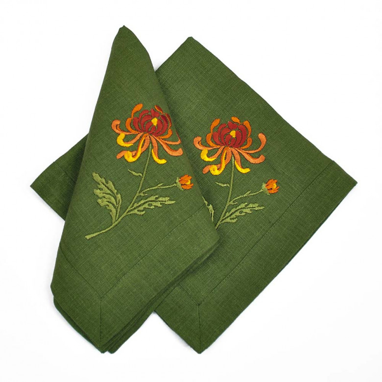 Набір столовий Хризантеми: центральна серветка 90*90см та 4 серветки 40*40см (зелений льон)