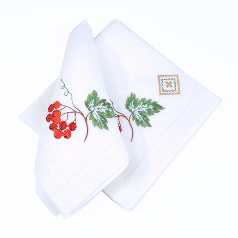Набір столовий Диво калинове: доріжка 90*40см та 4 серветки 40*40см (білий льон)