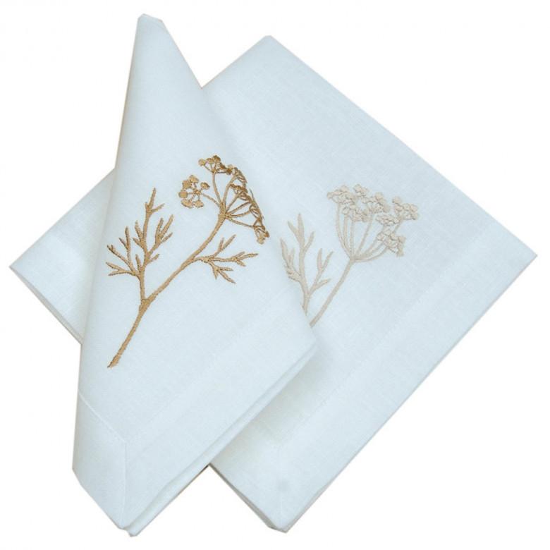 Набір столовий Суцвіття 90*40 та 4 серветки (білий льон)