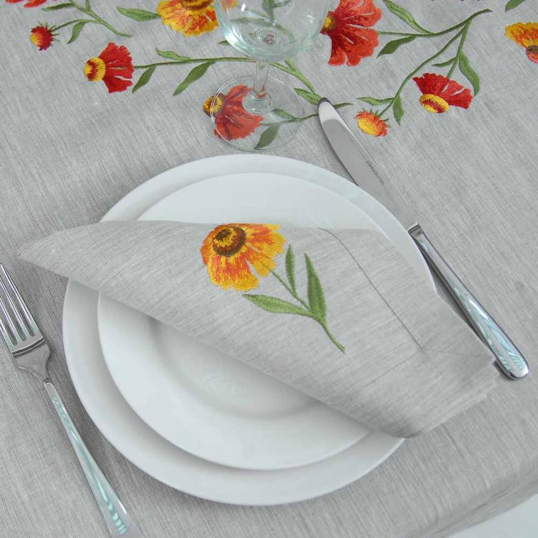 Набір серветок на стіл: 3+3 серветки Геленіум 40*40см (сірий льон)