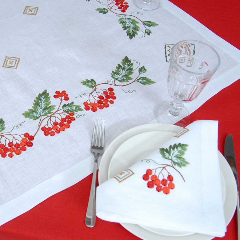 Серветка на стіл центральна Диво калинове 90*90см (білий льон)