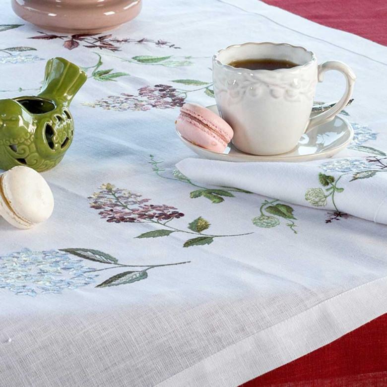 Набір Гортензія - 90*90 та 4 серветки (білий льон)