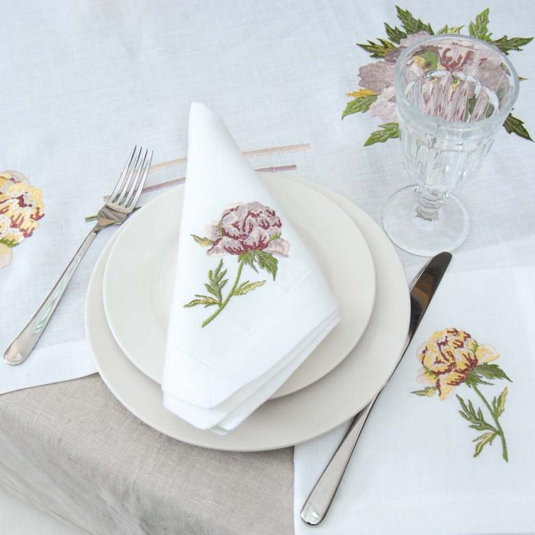 Набір серветок на стіл: 6 серветок Півонія 40*40см (білий льон)