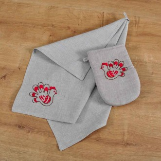 Набір для кухні: рукавиця та рушник ТРИПІЛЬСЬКА ІГРАШКА-пташка