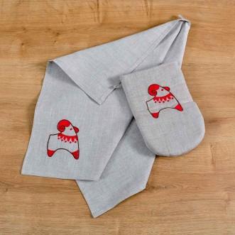 Набір для кухні: рукавиця та рушник ТРИПІЛЬСЬКА ІГРАШКА-баранець