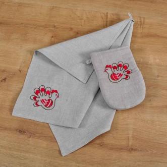 Набор для кухни: рукавица и полотенце ТРИПОЛЬСКАЯ ИГРУШКА-птичка