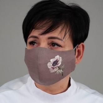 Маска-пита из ткани многоразовая Анемон мокко лен
