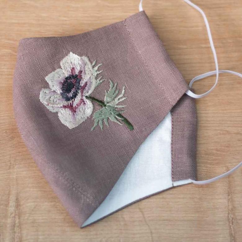 Маска-піта з тканини багаторазова Анемон мокко льон