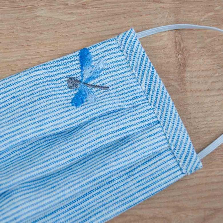 Маска захисна з тканини Стрекоза смугастий льон