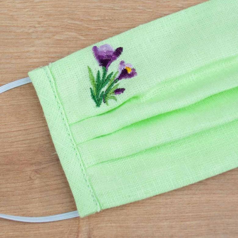 Маска захисна з тканини Крокус салатовий льон