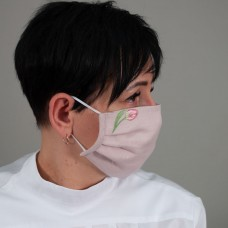 Захисна маска багаторазова Тюльпан рожевий льон
