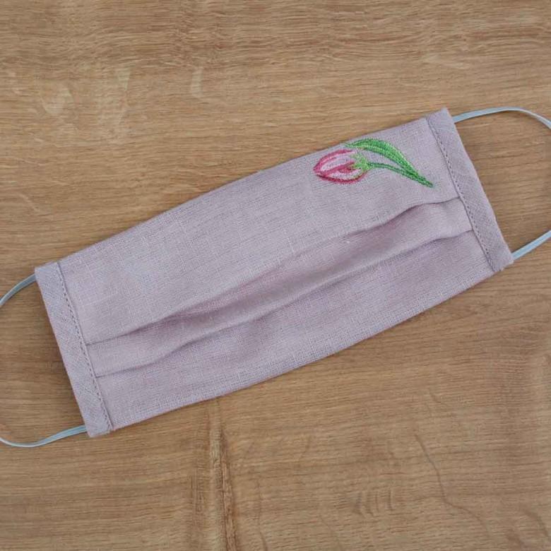Підліткова захисна маска багаторазова Тюльпан рожевий льон
