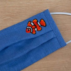Підліткова маска захисна тришарова Рибка синій льон