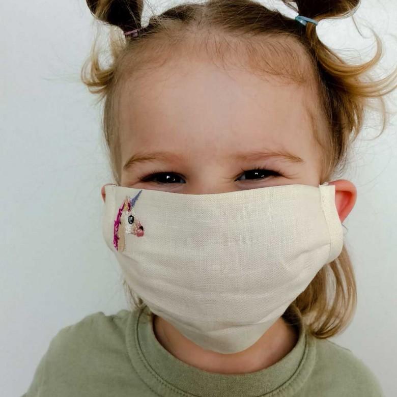 Захисна маска з тканини для дівчинки ЄДИНОРІГ