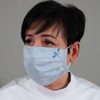 Маска защитная тканевая Стрекоза полосатый лен