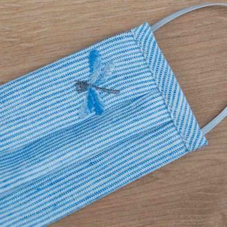 Маска защитная детская из ткани Стрекоза полосатый лен