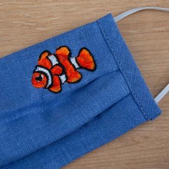 Детская маска защитная трехслойная Рыбка синий лен