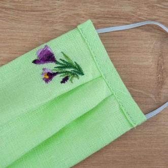 Подростковая защитная маска многоразовая Крокус салатовый лен