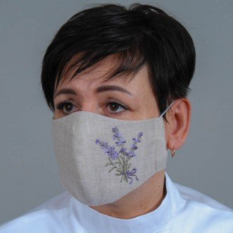 Женская маска-пита Лаванда фиолетовая (серый лен)