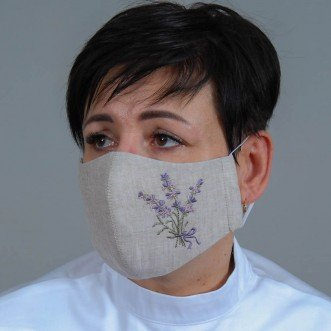 Многоразовая защитная маска-пита Лаванда розовая (серый лен)