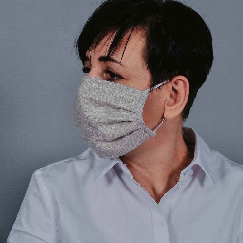 Захисна маска з тканини сіра арт. 02