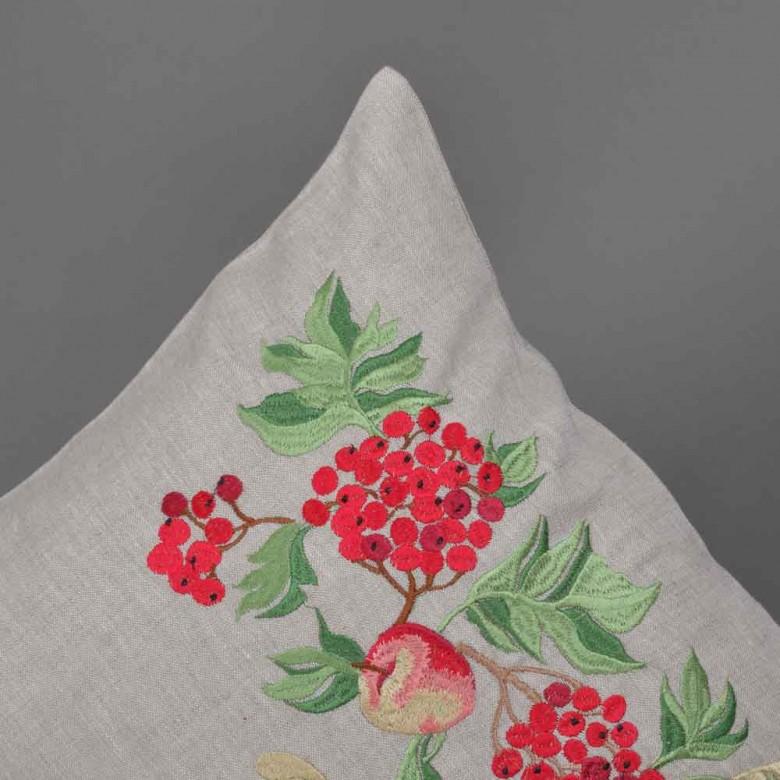 Наволочка декоративна КАЛИНА З ЯБЛУКАМИ 40*40 см сірий