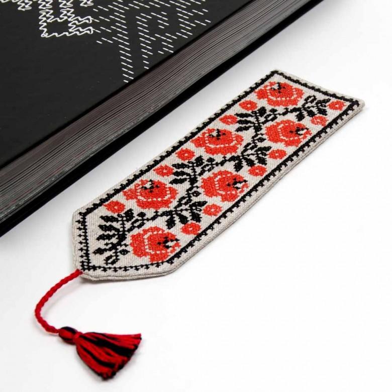 Закладка для книжки ТРОЯНДИ червоні (сірий льон)
