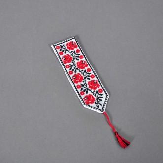Закладка для книжки ТРОЯНДИ червоні (білий льон)