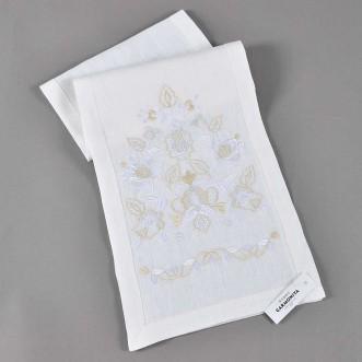 Вышитое полотенце ДОРОГА ЖИЗНИ белое 150*28 см