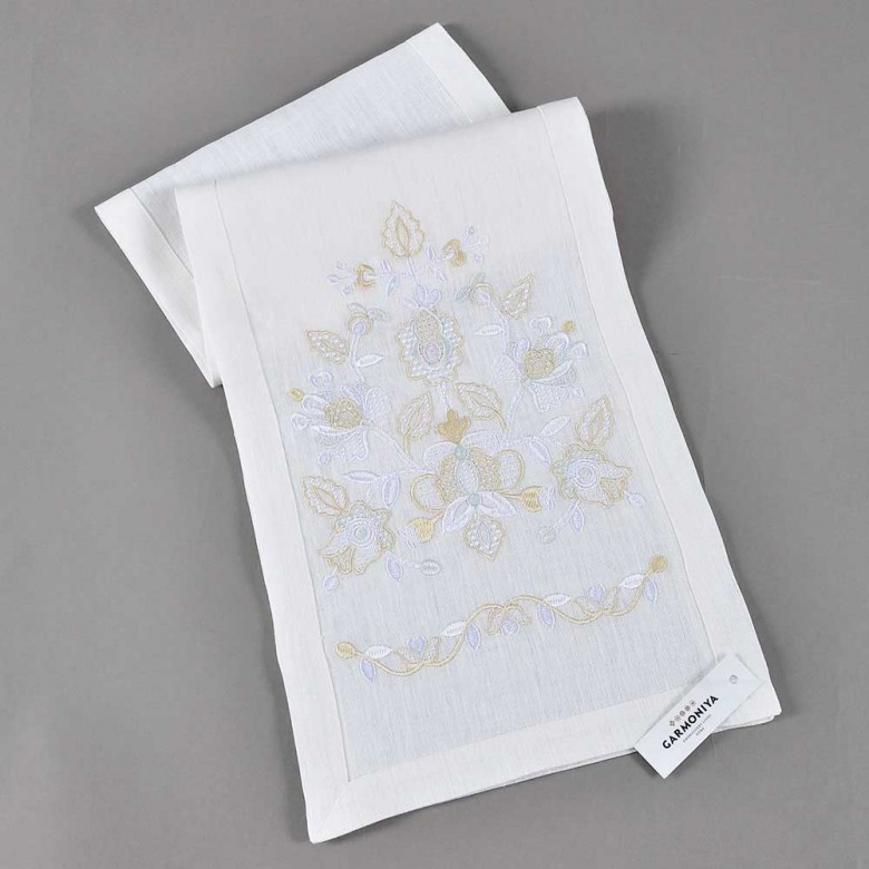 Вишитий рушник ДОРОГА ЖИТТЯ білий 150*28 см