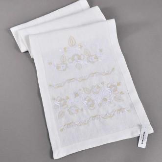 Вышитое полотенце ДОРОГА ЖИЗНИ белое 200*35 см