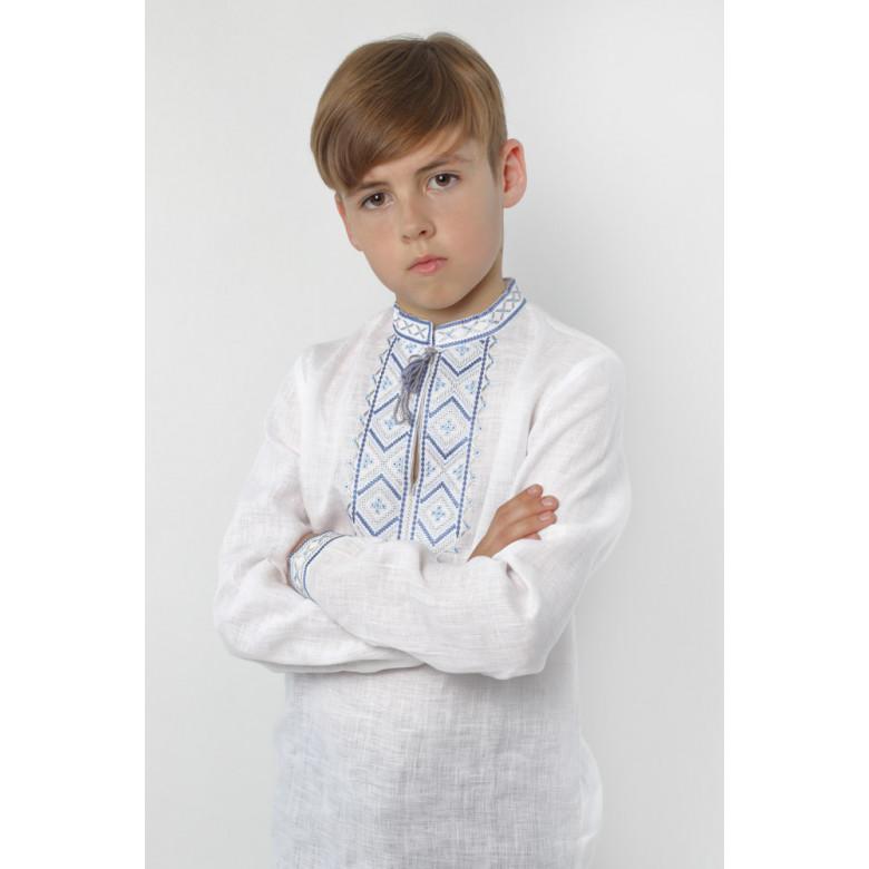 Вишиванка для хлопчика Диканька синя р.86-176 (білий льон)