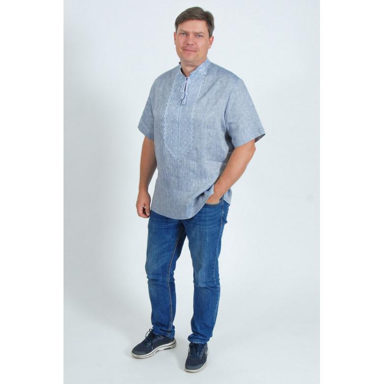 """Теніска чоловіча Диканька джинс """"стійка"""" р.39-45 зріст 176-182 (джинс льон )"""