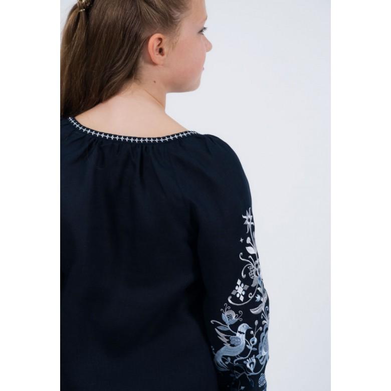 Вишита сорочка ДЕРЕВО ЖИТТЯ р.146 (темно-синій льон)