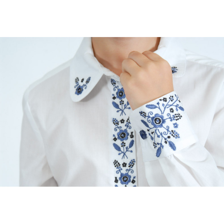Вишита сорочка для дівчинки Гармонія синя р.122-146 (бавовна 65%)