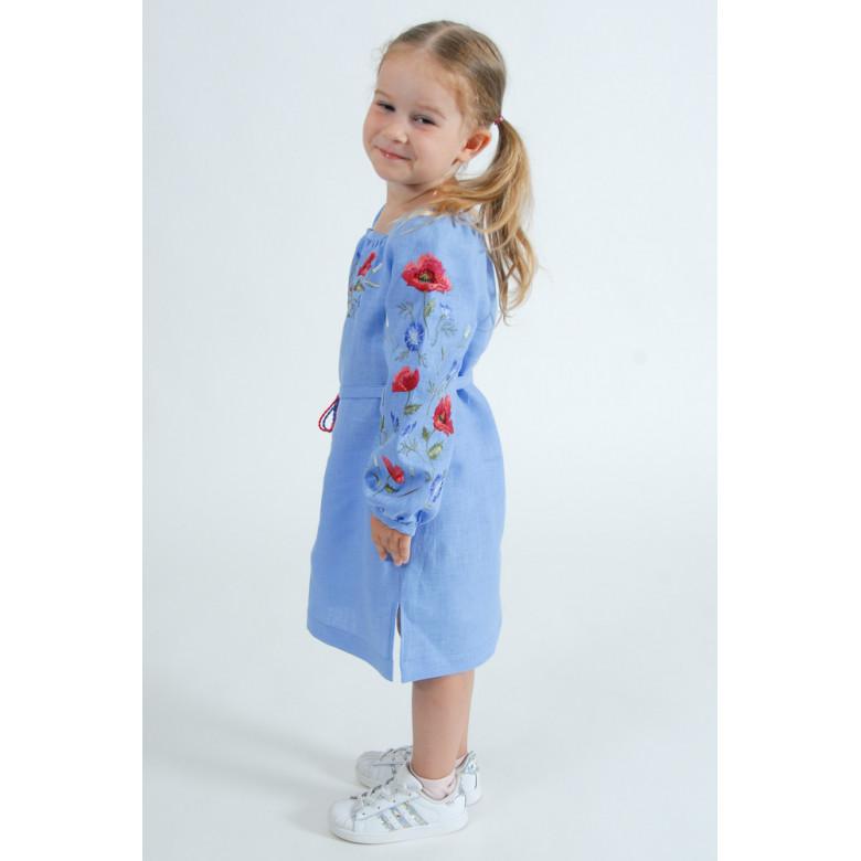 Вишита сукня для дівчинки Волошковий Рай р.110-140 (блакитний льон)