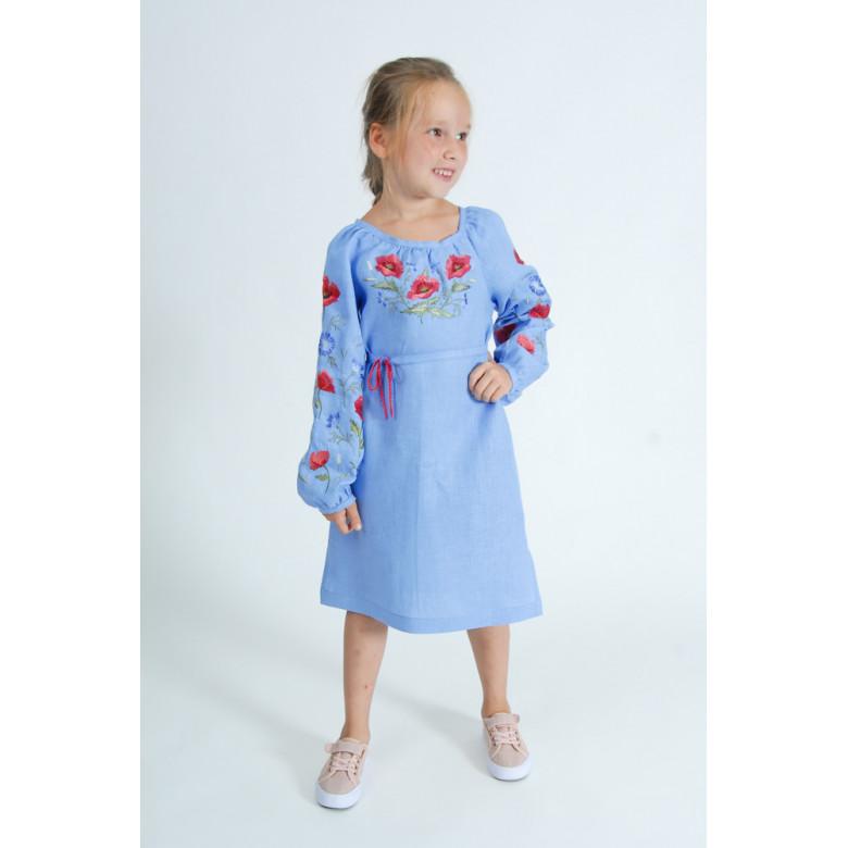 Плаття вишиванка для підлітків Волошковий Рай р.146-164 (блакитний льон)