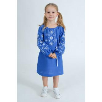 Вышитое платье для девочки Дубрава р.110-140 (синий лен)