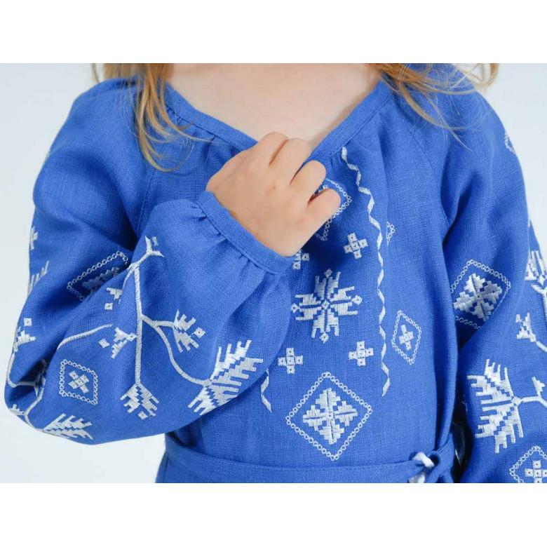 Вишите плаття для дівчинки Діброва р.110-140 (синій льон)