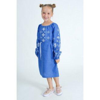 Вышитое платье подростковая Дубрава р.146-164 (синий лен)