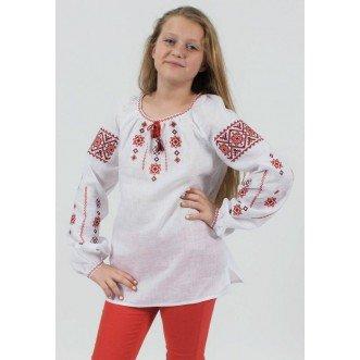Вышитая рубашка Галинка р.146 (белый лен)